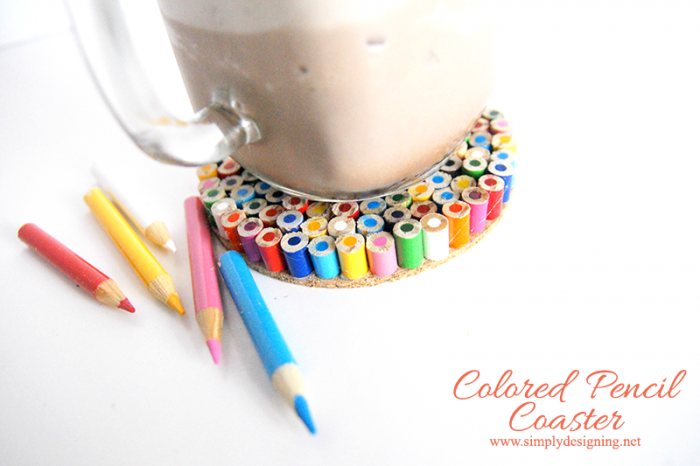 Pencil crayon drink coaster by Simply Designing, featured on Funky Junk Interiors