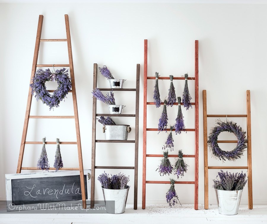 DIY decorative vintage ladders by Orphans With Makeup, featured on Funky Junk Interiors