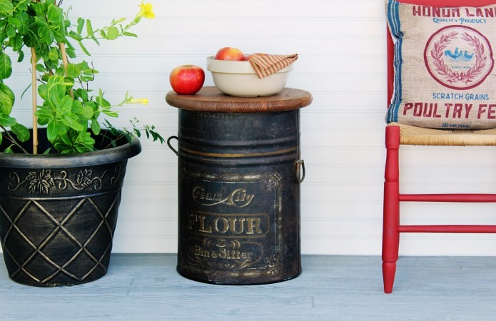 Antique flour bin accent table by Knick Of Time, featured on Funky Junk Interiors