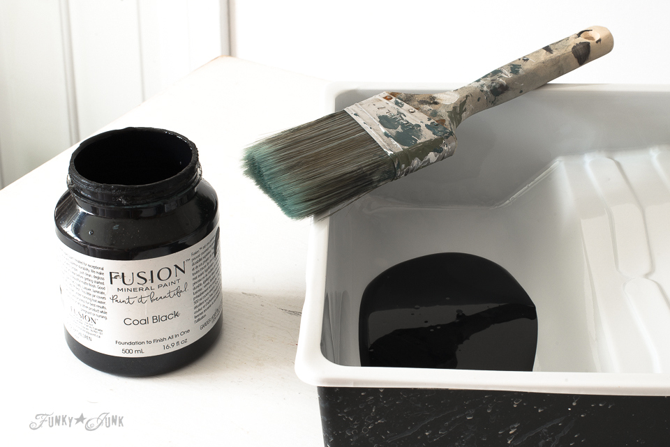 Fusion Mineral Paint's Coal Black, used for a subway styled dresser media stand in a bedroom | funkyjunkinteriors.net