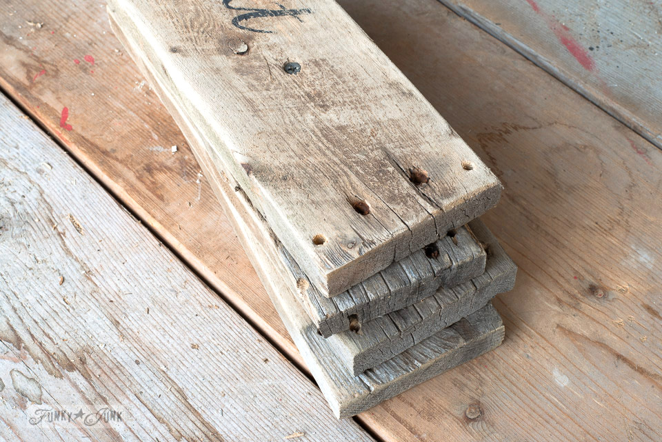 How to build an easy reclaimed wood shelf with stacked plank risers for a TV media stand | funkyjunkinteriors.net