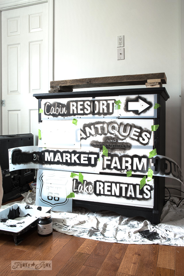 How to create a subway styled dresser used for a TV media stand in a bedroom using Funky Junk's Old Sign Stencils and Fusion Mineral Paint! funkjunkinteriors.net