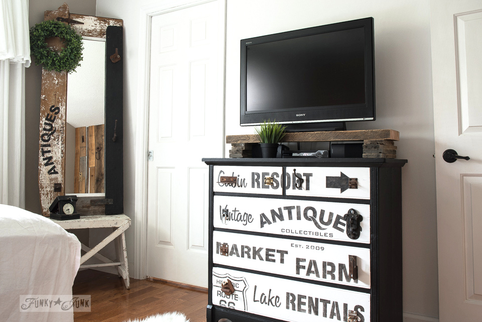 Subway sign styled TV stand dresser with reclaimed wood shelf and rusty junk drawer pulls. A sharp black and white look using Funky Junk's Old Sign Stencils and Fusion Mineral Paint! funkjunkinteriors.net