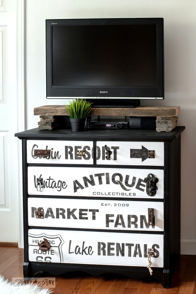 Subway sign styled TV stand with stencils, by funkyjunkinteriors.net
