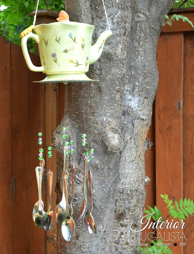 Teapot and spoon garden wind chime by The Interior Frugalista, featured on Funky Junk Interiors