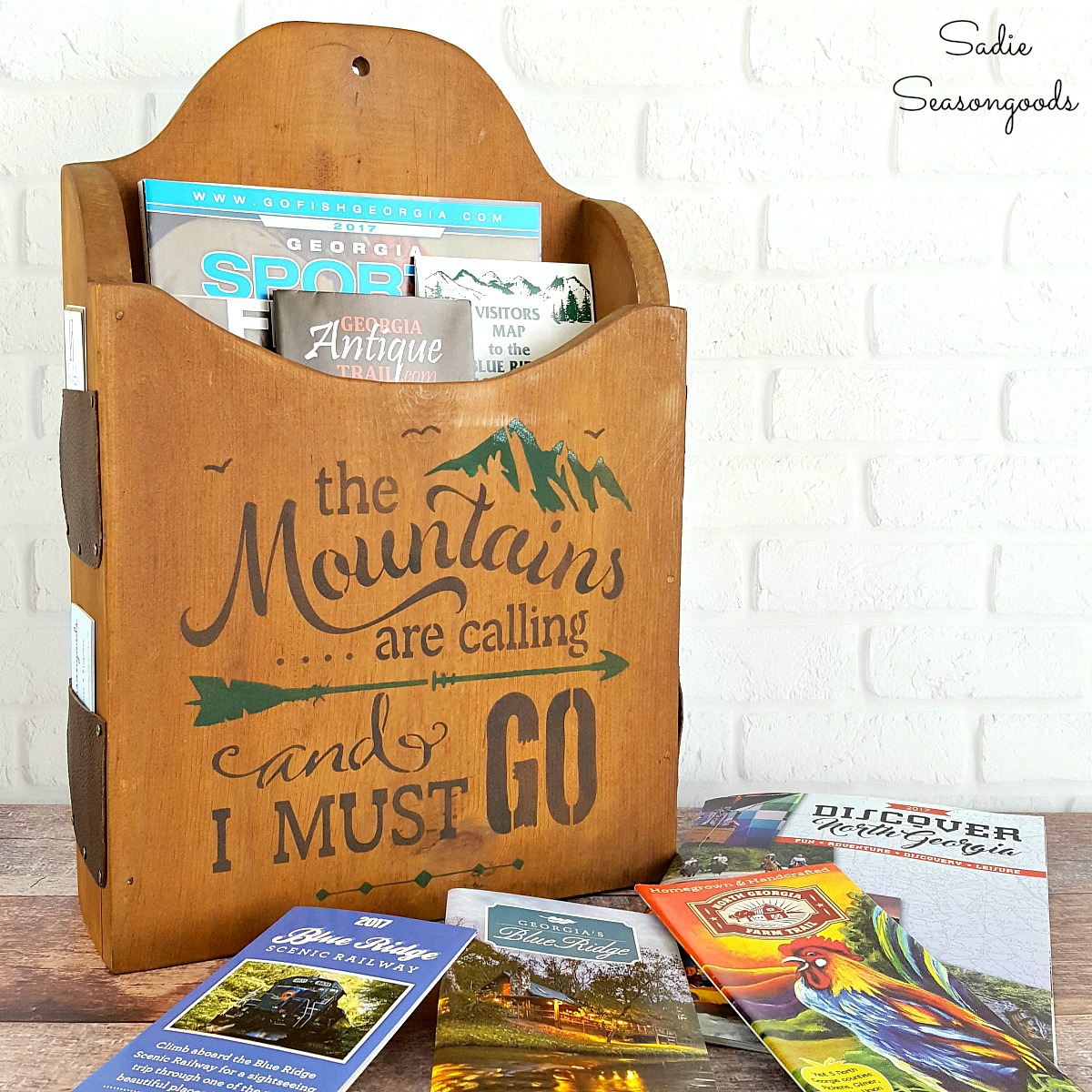 Mountain cabin brochure holder by Sadie Seasongoods, featured on Funky Junk Interiors