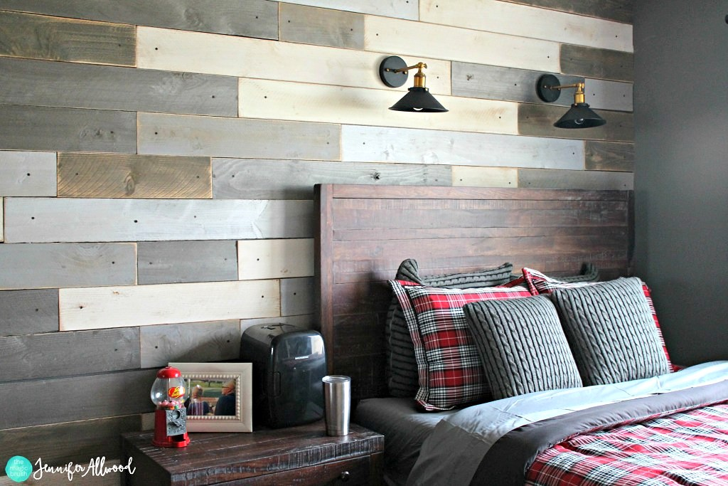 Multi-toned reclaimed wood wall by Jennifer Allwood, featured on Funky Junk Interiors