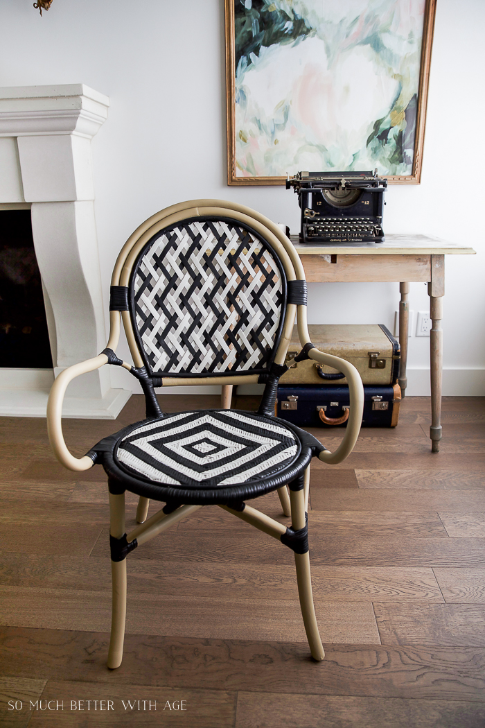 Black and white painted french bistro chair makeover by So Much Better With Age, featured on Funky Junk Interiors