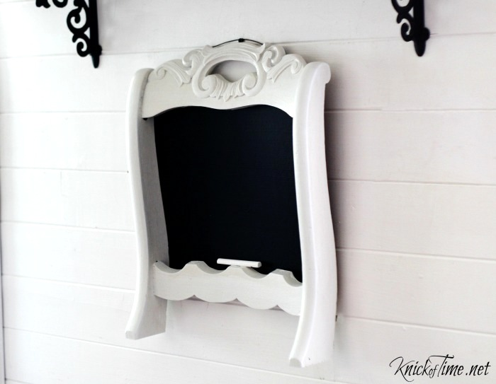 Chair back chalkboard by Knick of Time, featured on Funky Junk Interiors