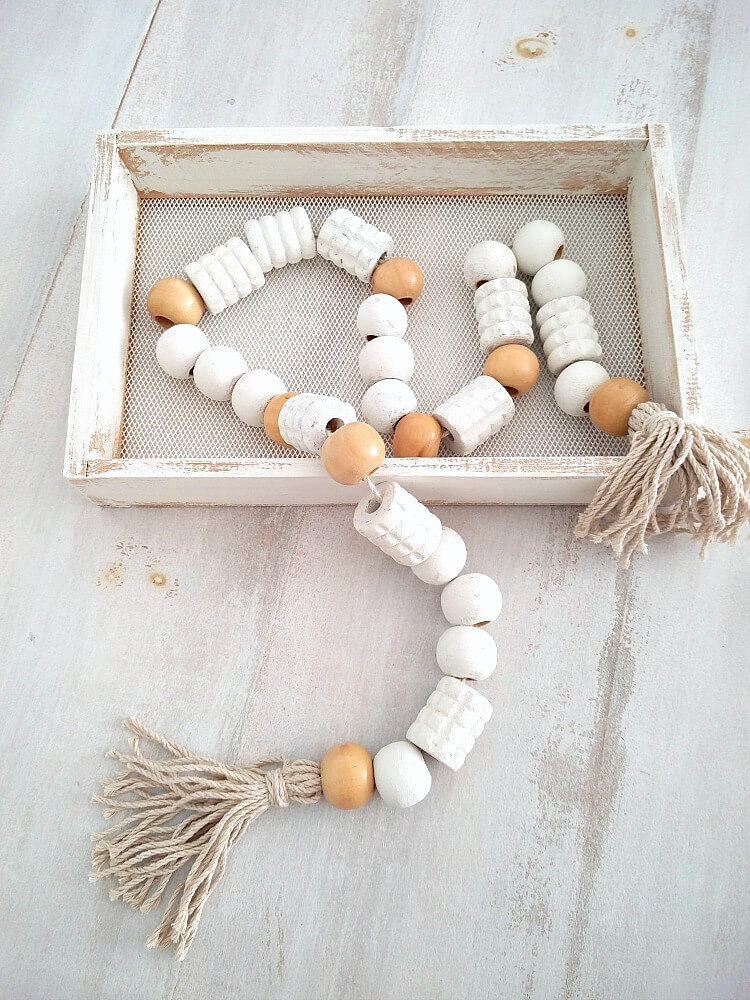Back massager wooden bead garland by Kreativ K, featured on Funky Junk Interiors