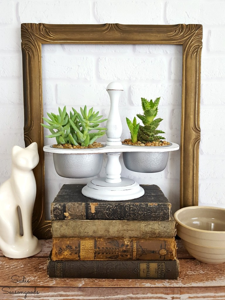 Condiment caddy succulent planter by Sadie Seasongoods, featured on Funky Junk Interiors