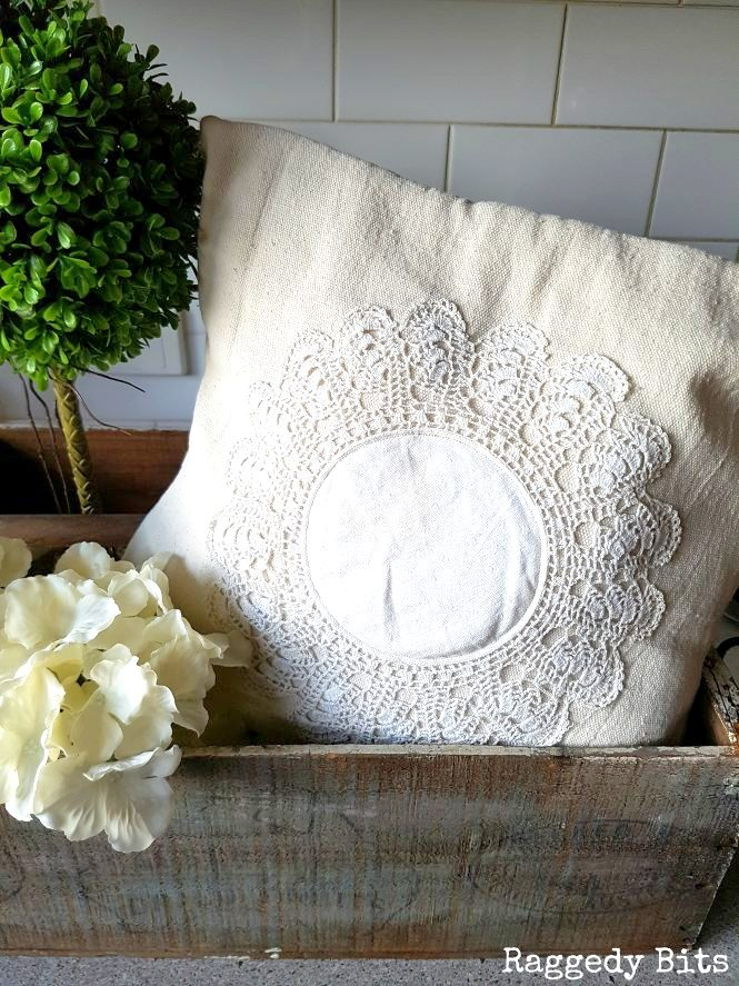 Vintage doily drop cloth farmhouse pillow by Raggedy Bits, featured on Funky Junk Interiors