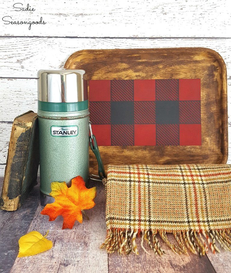 Buffalo Checked stenciled cabin-style tray by Sadie Seasongoods, featured on Funky Junk Interiors