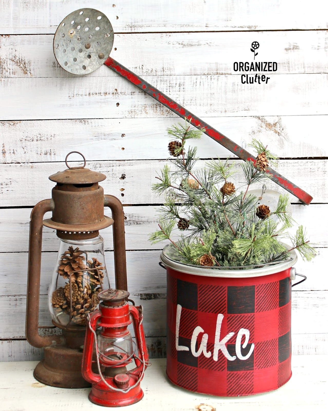 Buffalo Check cabin-styled Christmas planter by Organized Clutter, featured on Funky Junk Interiors