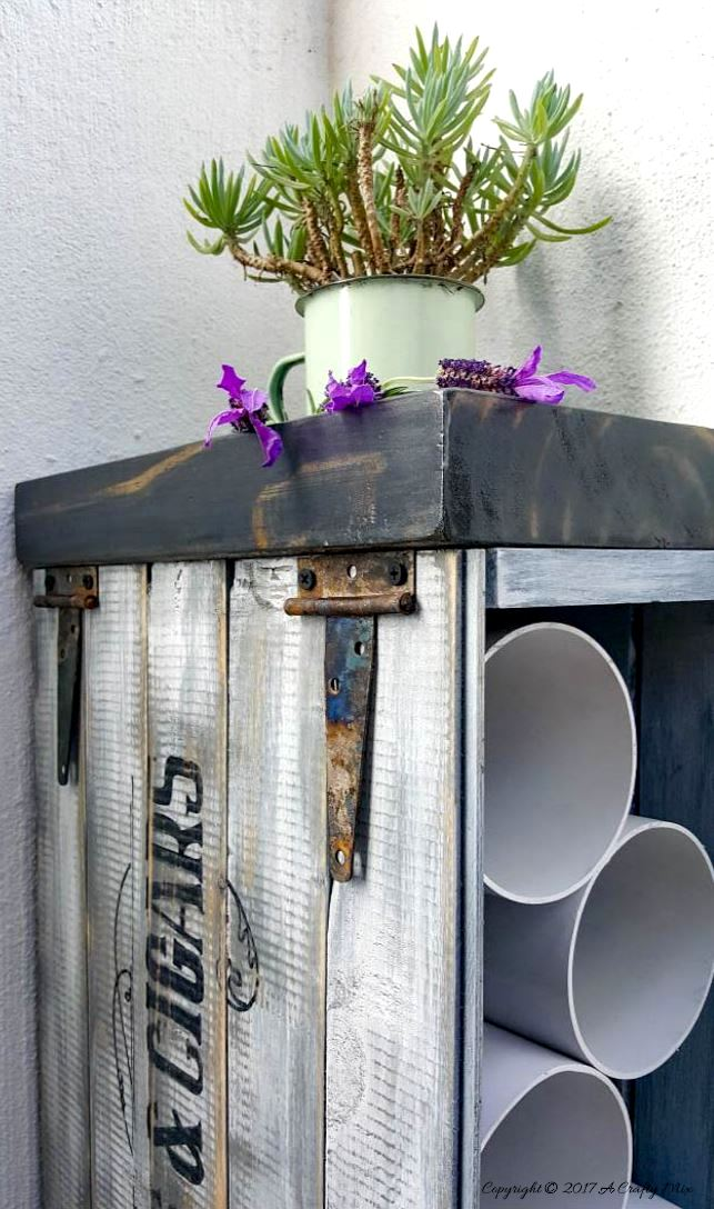 Crate and pipe wine rack by A Crafty Mix, featured on Funky Junk Interiors