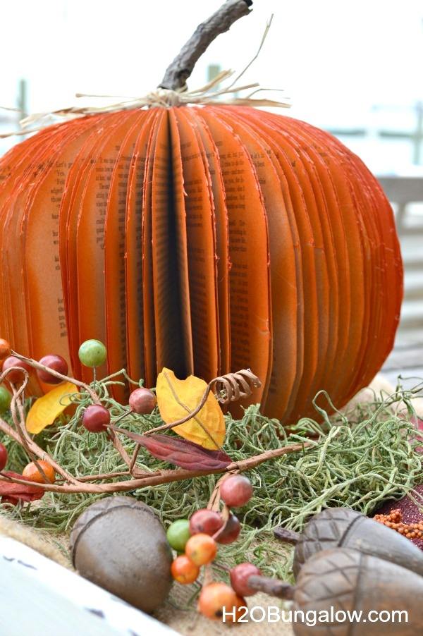 DIY fall book pumpkin by H2O Bungalow, featured on Funky Junk Interiors