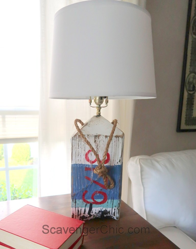 Driftwood buoy lamp by Scavenger Chic, featured on Funky Junk Interiors
