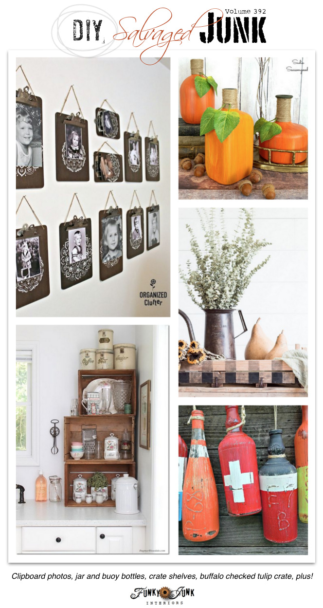 DIY Salvaged Junk Projects 392 - Clipboard photos, jar and buoy bottles, crate shelves, buffalo checked tulip crate, plus! Features and a NEW themed link party on funkyjunkinteriors.net