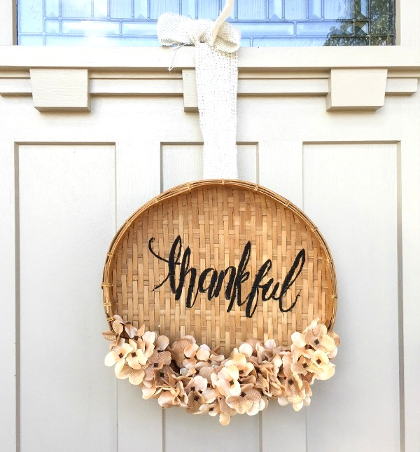 Basket and flower door fall wreath sign by Twelve On Main, featured on Funky Junk Interiors
