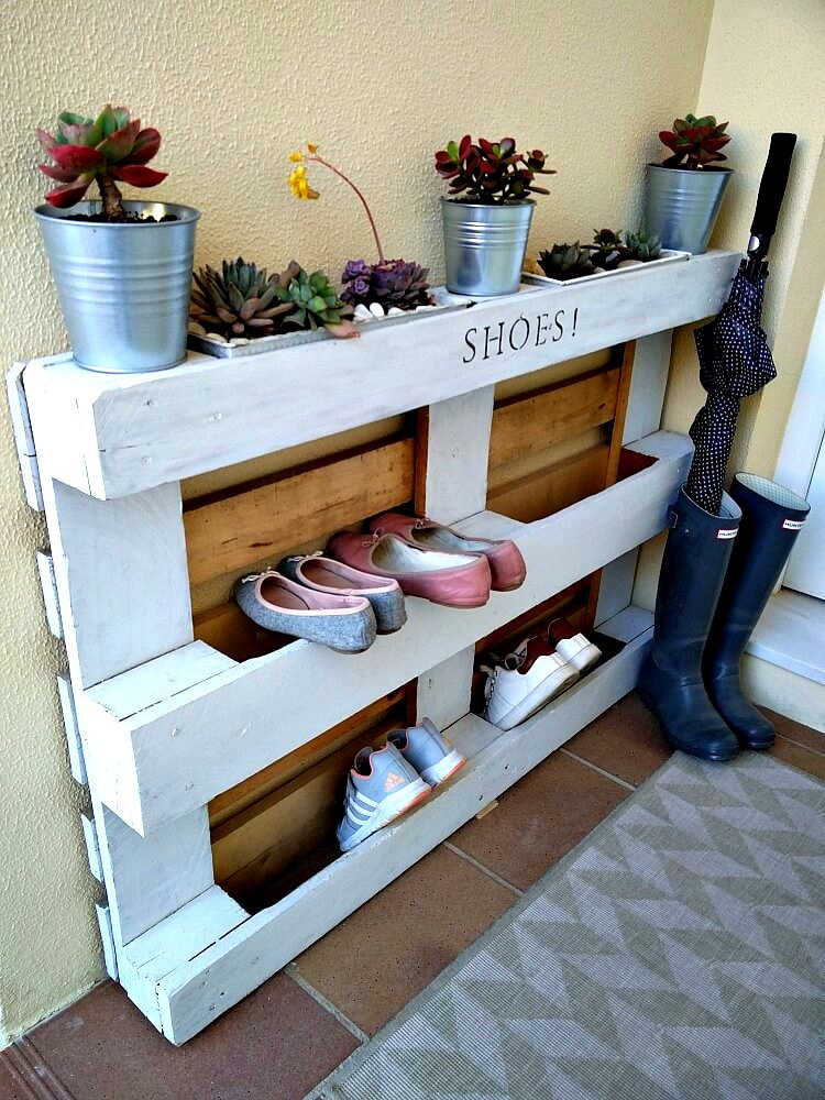 Pallet shoe storage by Kreativ K, featured on Funky Junk Interiors
