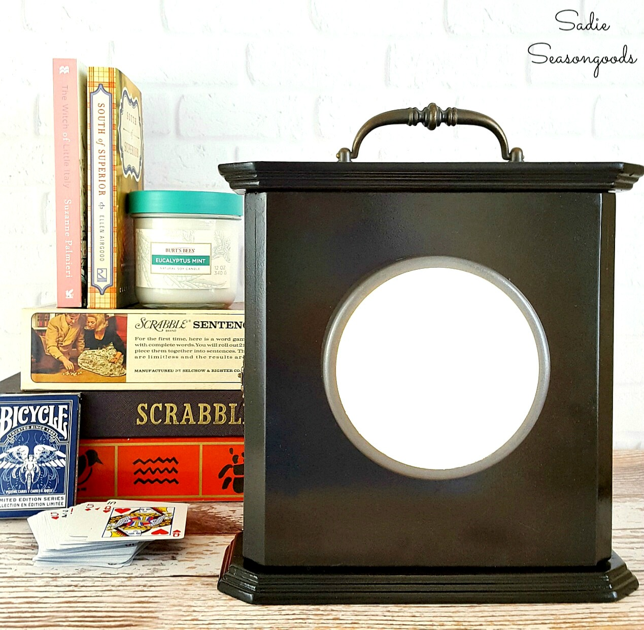 DIY power outage clock lantern by Sadie Seasongoods, featured on Funky Junk Interiors