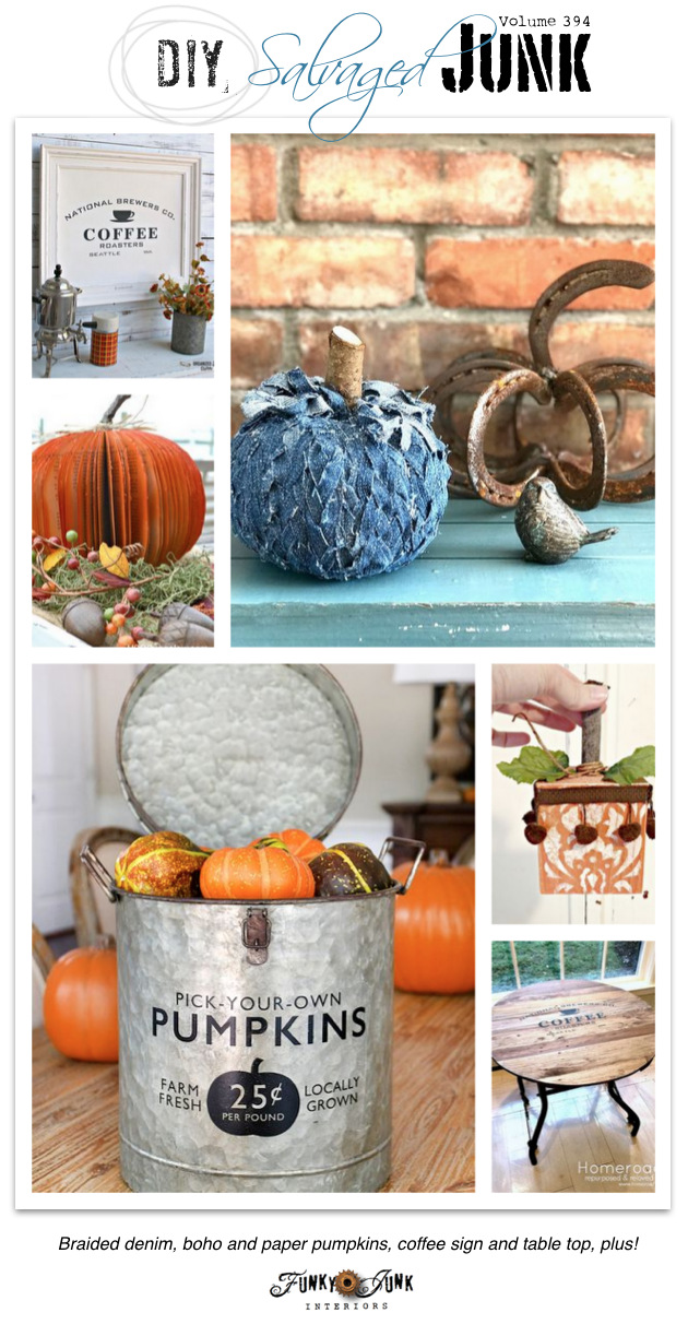 DIY Salvaged Junk Projects 394 - Braided denim, boho and paper pumpkins, coffee sign and table top, plus! Features and NEW up-cycled link party.