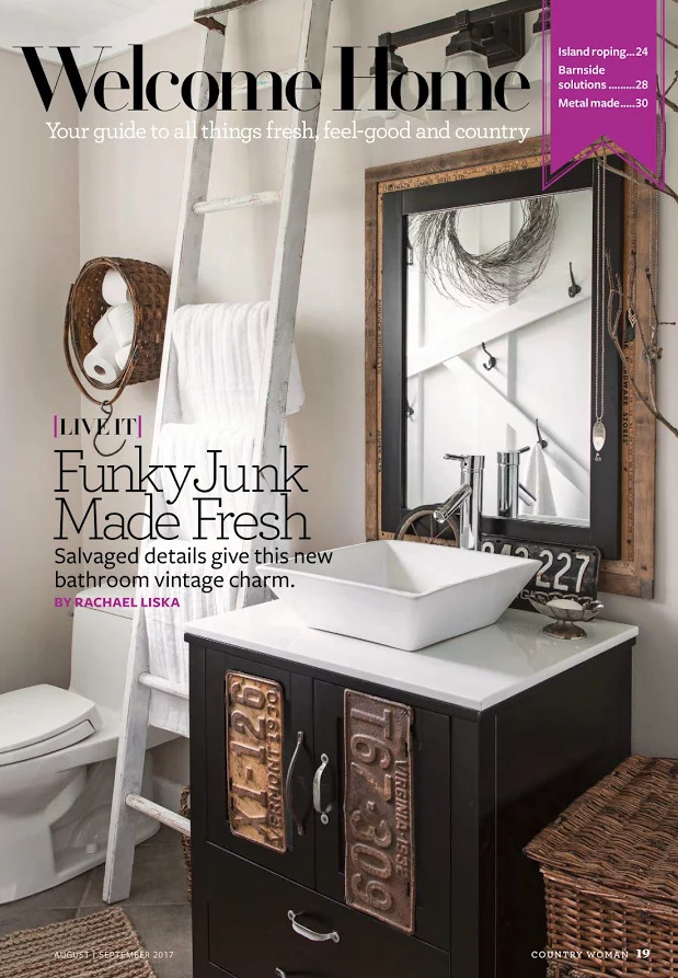 Funky Junk Interiors' salvaged farmhouse bathroom feature in Country Woman Magazine | funkyjunkinteriors.net