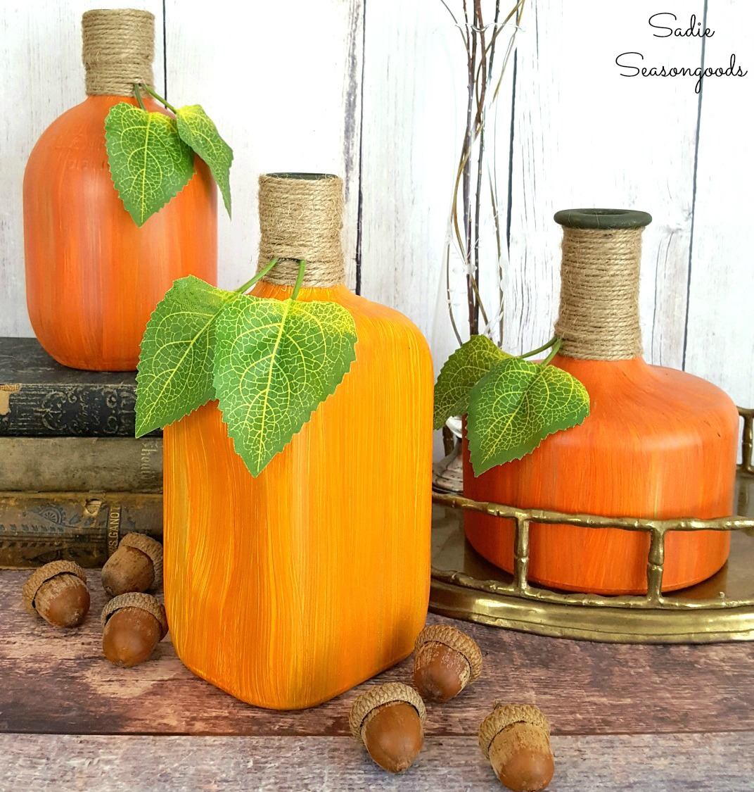 Up-cycled bottle fall pumpkins and gourds by Sadie Seasongoods, featured on Funky Junk Interiors
