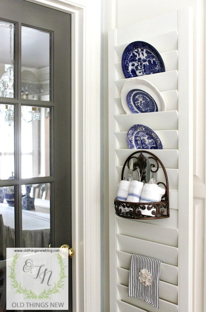 Repurposed shutter plate rack by Old Things New, featured on Funky Junk Interiors