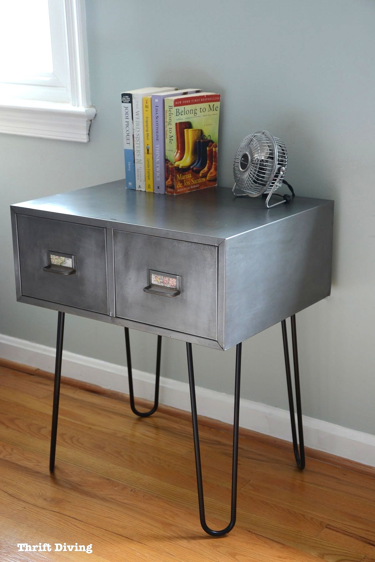 Vintage file cabinet accent table with hairpin legs by Thrift Diving, featured on Funky Junk Interiors