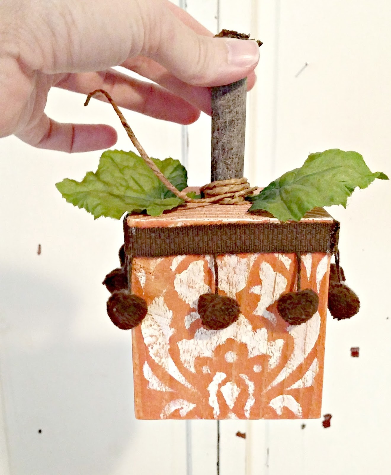Scrap wood boho pumpkin by Little Vintage Cottage, featured on Funky Junk Interiors