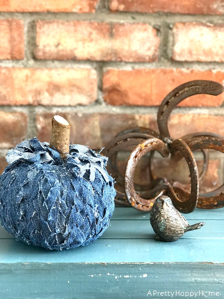 Braided denim pumpkin by A Pretty Happy Home, featured on Funky Junk Interiors