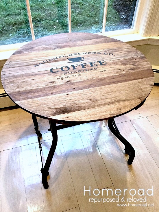 Wooden tray turned coffee themed table by Homeroad, featured on Funky Junk Interiors