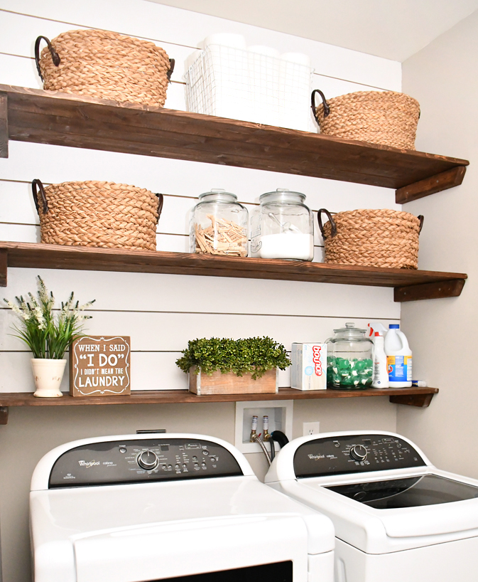 Easy laundry room shiplap and shelving tutorial by How To Nest For Less, featured on Funky Junk Interiors