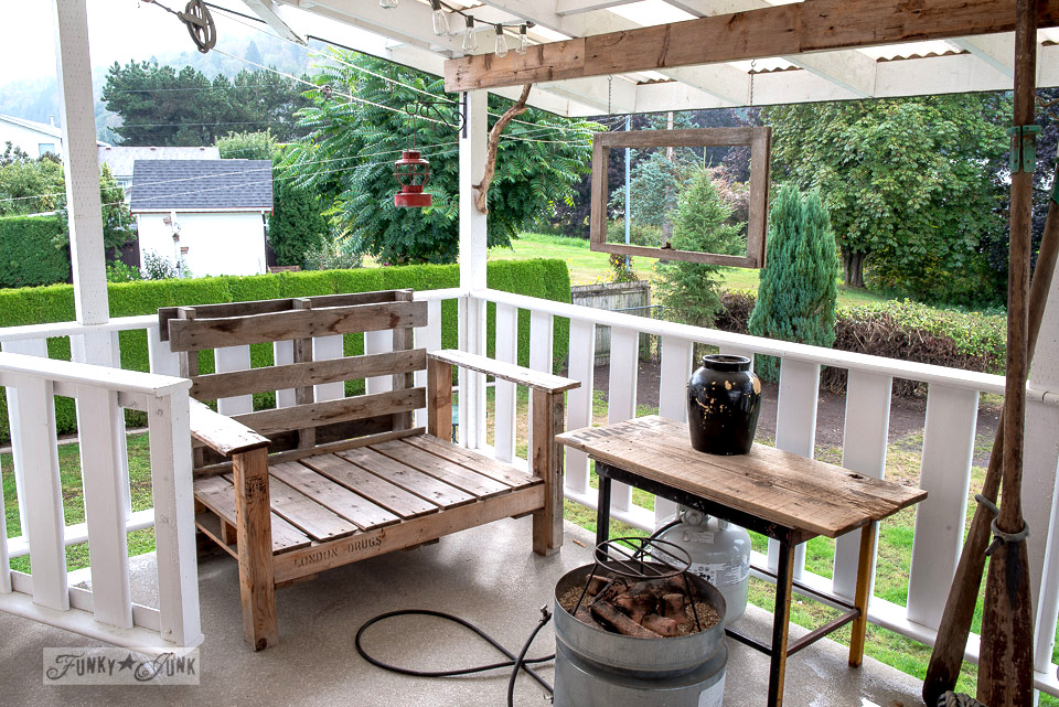 pallet wood furniture cleaned off for fall | funkyjunkinteriors.net