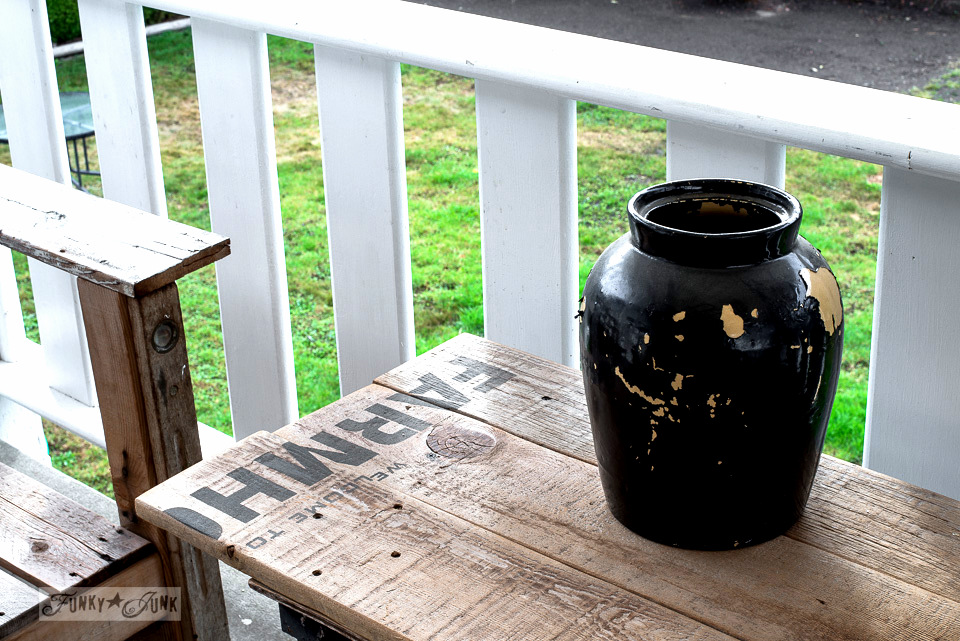 cleaning up the pallet wood patio for fall | funkyjunkinteriors.net
