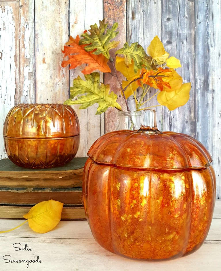Up-cycled alcohol ink glass pumpkins by Sadie Seasongoods, featured on Funky Junk Interiors