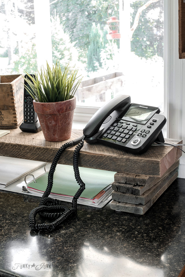 Reclaimed wood kitchen phone station shelf
