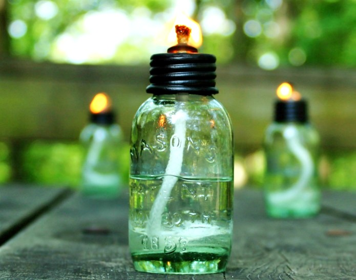 Mason jar citronella oil lamp by Knick of Time, featured on Funky Junk Interiors