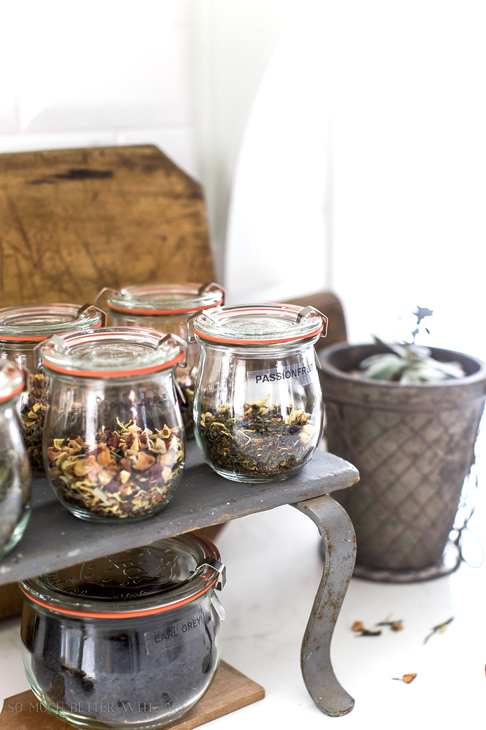 Charming loose leaf tea station with jars by So Much Better With Age, featured on Funky Junk Interiors