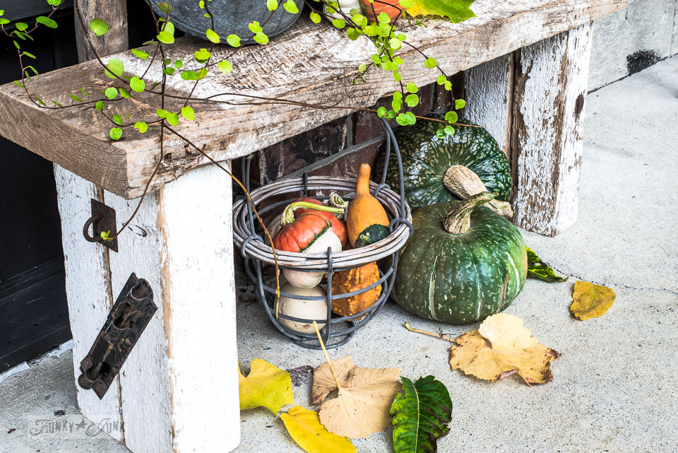 Fall decor of pumpkins and gourds sitting under a rustic bench by the front door | funkyjunkinteriors.net