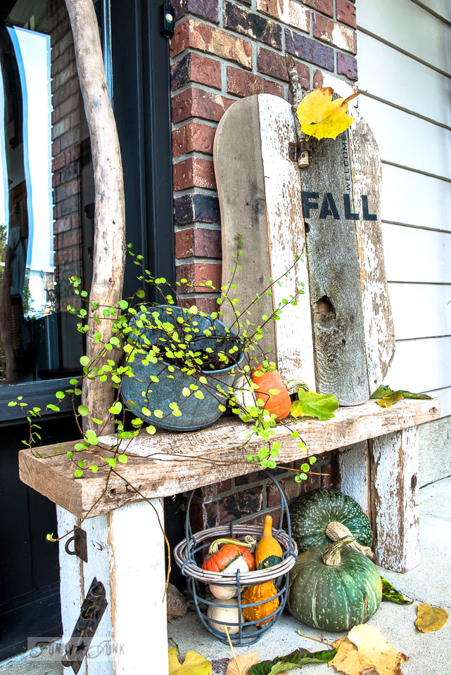 Welcome Fall quirky reclaimed wood pumpkin for front door decor, made with Funky Junk's Old Sign Stencils | funkyjunkinteriors.net