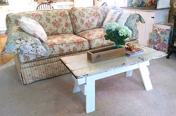 Sawhorse coffee table by Vintage Floral Cottage, featured on Funky Junk Interiors