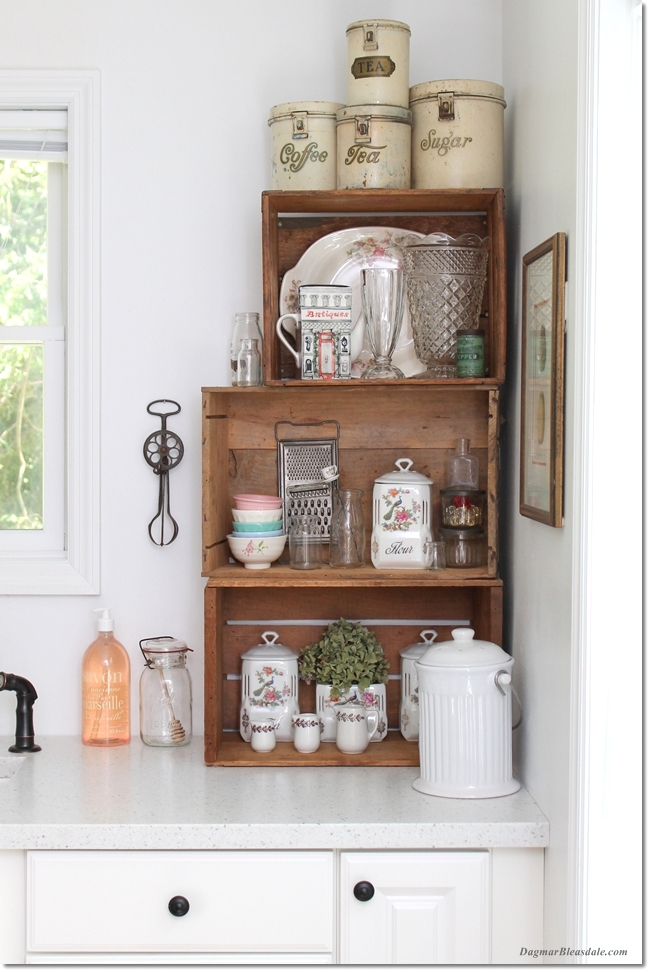 Stacked crate kitchen shelving by Dagmar's Home, featured on Funky Junk Interiors
