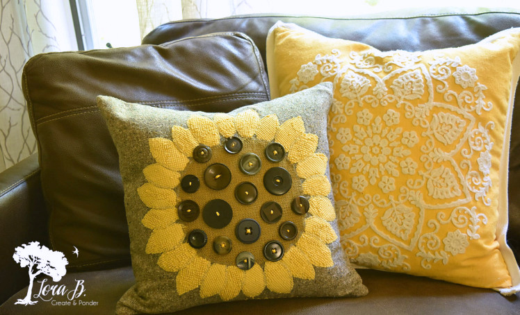 Sunflower button pillow by Lora B, featured on Funky Junk Interiors