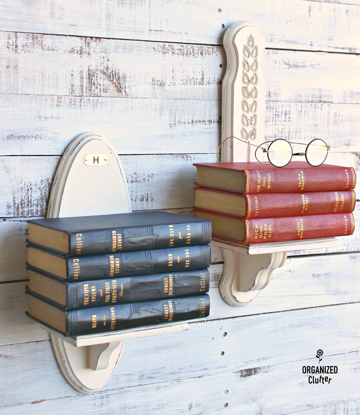Candle sconce wall book shelves by Organized Clutter, featured on Funky Junk Interiors