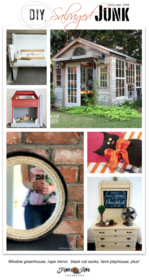 DIY Salvaged Junk Projects 396 - Window greenhouse, rope mirror, black cat socks, farm playhouse, plus! Features and a NEW junk linkup at funkyjunkinteriors.net