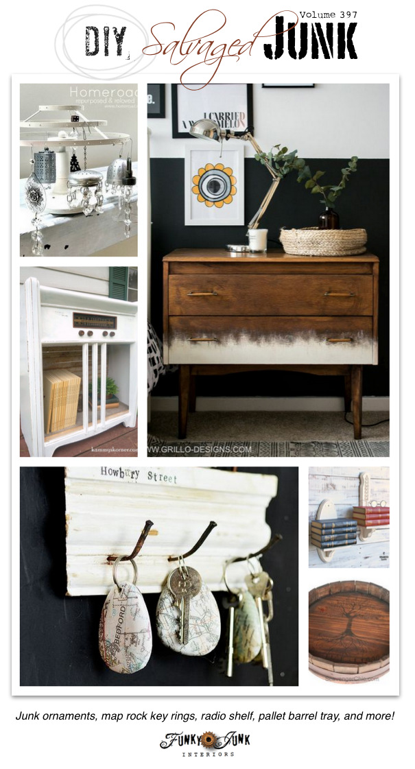 DIY Salvaged Junk Projects 397 - Junk ornaments, map rock key rings, radio shelf, pallet barrel tray, and more! Features and NEW junk link party on funkyjunkinteriors.net