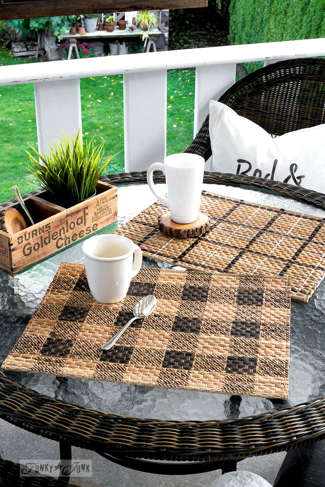 How to stencil plaid and buffalo check patterns to Ikea rattan placemats