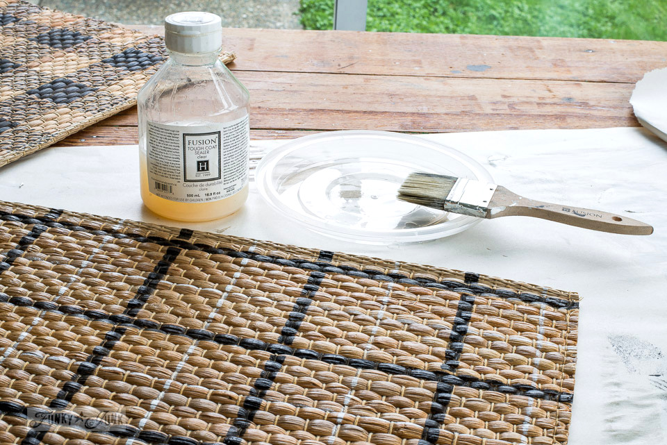 Sealing stenciled woven placemats with Fusion Mineral Paint's Tough Coat for durability. No odour, dries quickly. Worked like a charm! | funkyjunkinteriors.net